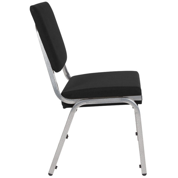 Lowest Price HERCULES Series 1500 lb. Rated Black Antimicrobial Fabric Bariatric Medical Reception Chair with 3/4 Panel Back