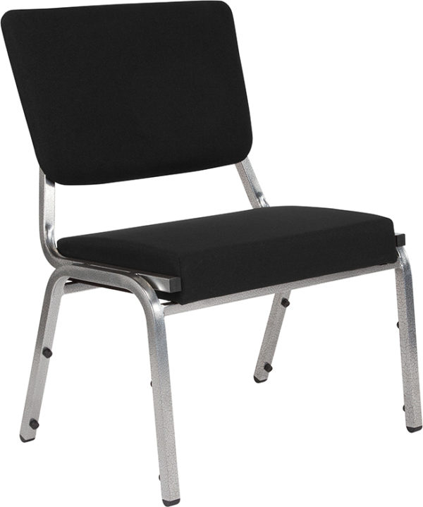 Wholesale HERCULES Series 1500 lb. Rated Black Antimicrobial Fabric Bariatric Medical Reception Chair with 3/4 Panel Back