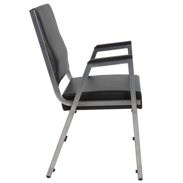 Lowest Price HERCULES Series 1500 lb. Rated Black Antimicrobial Vinyl Bariatric Medical Reception Arm Chair