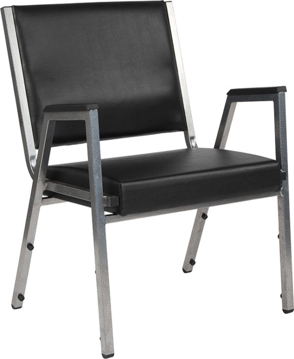 Wholesale HERCULES Series 1500 lb. Rated Black Antimicrobial Vinyl Bariatric Medical Reception Arm Chair