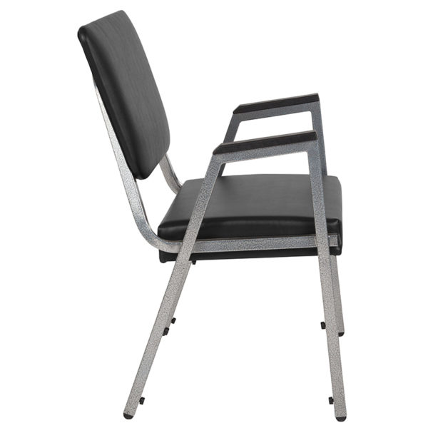 Lowest Price HERCULES Series 1500 lb. Rated Black Antimicrobial Vinyl Bariatric Medical Reception Arm Chair with 3/4 Panel Back