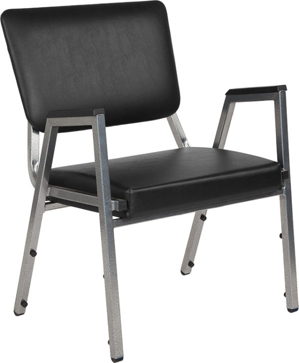 Wholesale HERCULES Series 1500 lb. Rated Black Antimicrobial Vinyl Bariatric Medical Reception Arm Chair with 3/4 Panel Back