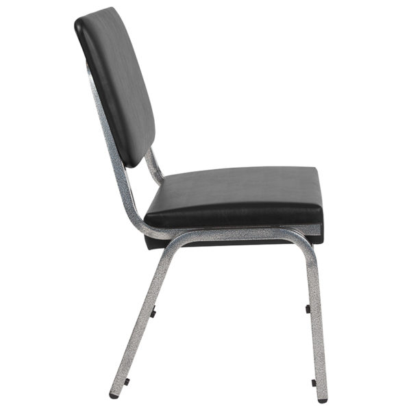 Lowest Price HERCULES Series 1500 lb. Rated Black Antimicrobial Vinyl Bariatric Medical Reception Chair with 3/4 Panel Back