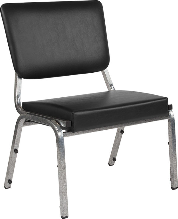 Wholesale HERCULES Series 1500 lb. Rated Black Antimicrobial Vinyl Bariatric Medical Reception Chair with 3/4 Panel Back