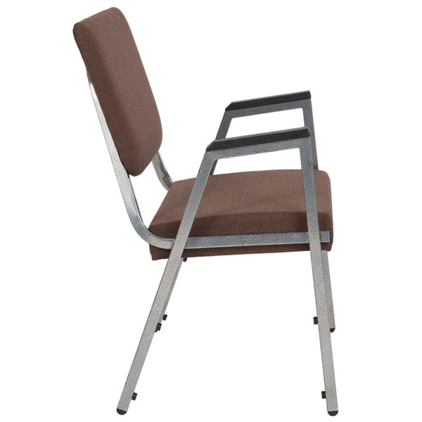 Lowest Price HERCULES Series 1500 lb. Rated Brown Antimicrobial Fabric Bariatric Medical Reception Arm Chair with 3/4 Panel Back