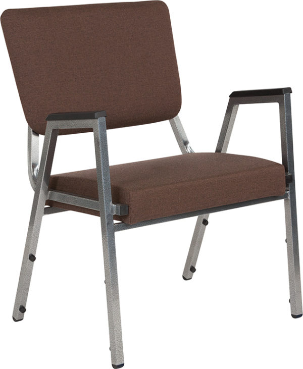 Wholesale HERCULES Series 1500 lb. Rated Brown Antimicrobial Fabric Bariatric Medical Reception Arm Chair with 3/4 Panel Back