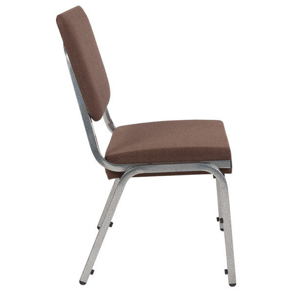 Lowest Price HERCULES Series 1500 lb. Rated Brown Antimicrobial Fabric Bariatric Medical Reception Chair with 3/4 Panel Back