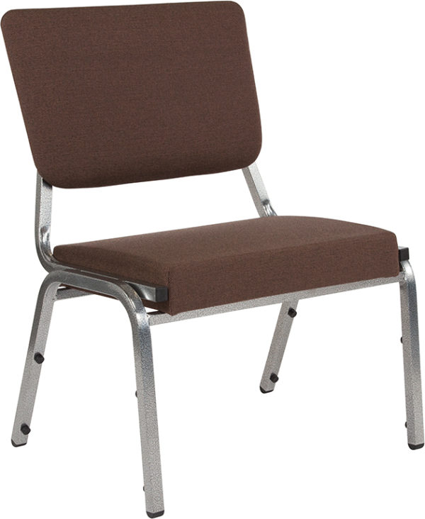 Wholesale HERCULES Series 1500 lb. Rated Brown Antimicrobial Fabric Bariatric Medical Reception Chair with 3/4 Panel Back