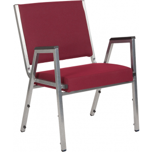 Wholesale HERCULES Series 1500 lb. Rated Burgundy Antimicrobial Fabric Bariatric Medical Reception Arm Chair