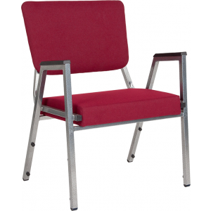 Wholesale HERCULES Series 1500 lb. Rated Burgundy Antimicrobial Fabric Bariatric Medical Reception Arm Chair with 3/4 Panel Back