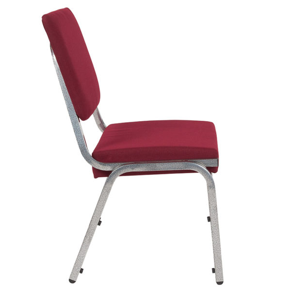 Lowest Price HERCULES Series 1500 lb. Rated Burgundy Antimicrobial Fabric Bariatric Medical Reception Chair with 3/4 Panel Back