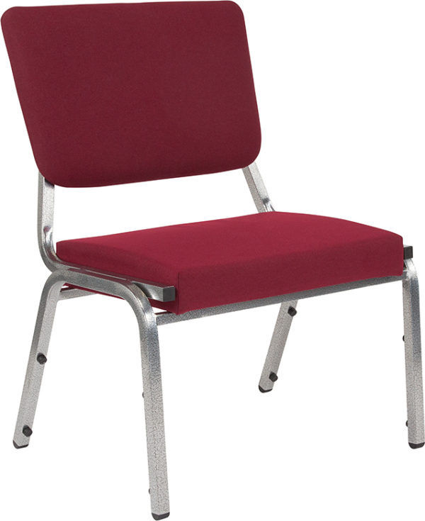 Wholesale HERCULES Series 1500 lb. Rated Burgundy Antimicrobial Fabric Bariatric Medical Reception Chair with 3/4 Panel Back