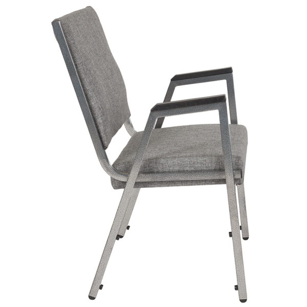 Lowest Price HERCULES Series 1500 lb. Rated Gray Antimicrobial Fabric Bariatric Medical Reception Arm Chair