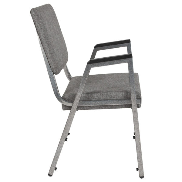 Lowest Price HERCULES Series 1500 lb. Rated Gray Antimicrobial Fabric Bariatric Medical Reception Arm Chair with 3/4 Panel Back