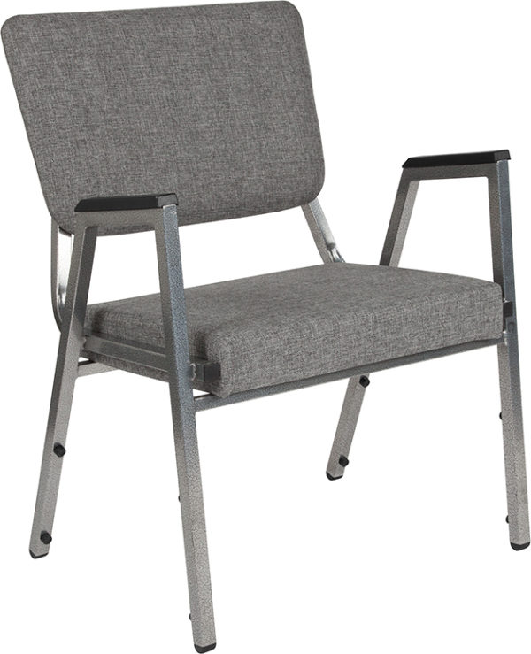 Wholesale HERCULES Series 1500 lb. Rated Gray Antimicrobial Fabric Bariatric Medical Reception Arm Chair with 3/4 Panel Back