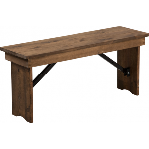 Wholesale HERCULES Series 40'' x 12'' Antique Rustic Solid Pine Folding Farm Bench