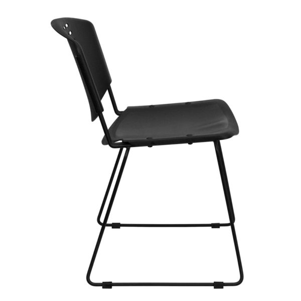 Lowest Price HERCULES Series 400 lb. Capacity Black Plastic Stack Chair with Black Frame