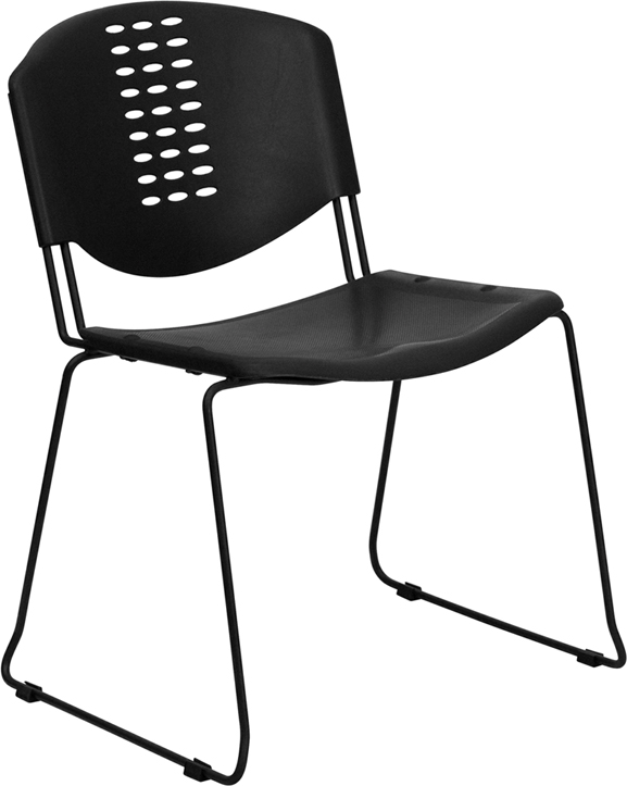 Wholesale HERCULES Series 400 lb. Capacity Black Plastic Stack Chair with Black Frame