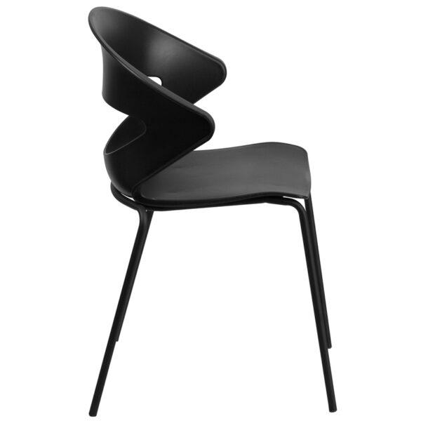 Lowest Price HERCULES Series 440 lb. Capacity Black Stack Chair