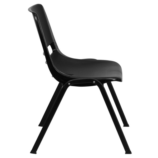 """Lowest Price HERCULES Series 440 lb. Capacity Kid's Black Ergonomic Shell Stack Chair with Black Frame and 12"""" Seat Height"""