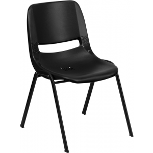 "Wholesale HERCULES Series 440 lb. Capacity Kid's Black Ergonomic Shell Stack Chair with Black Frame and 12"" Seat Height"