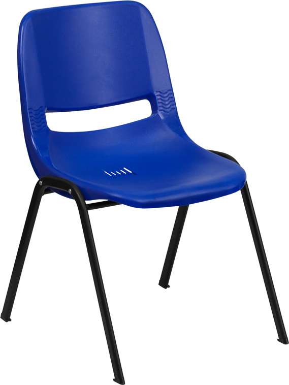 """Wholesale HERCULES Series 440 lb. Capacity Kid's Navy Ergonomic Shell Stack Chair with Black Frame and 12"""" Seat Height"""