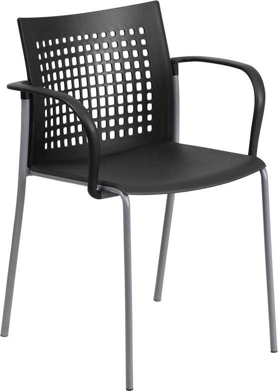 Wholesale HERCULES Series 551 lb. Capacity Black Stack Chair with Air-Vent Back and Arms