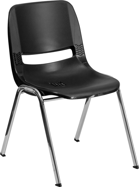 Wholesale HERCULES Series 661 lb. Capacity Black Ergonomic Shell Stack Chair with Chrome Frame and 16'' Seat Height