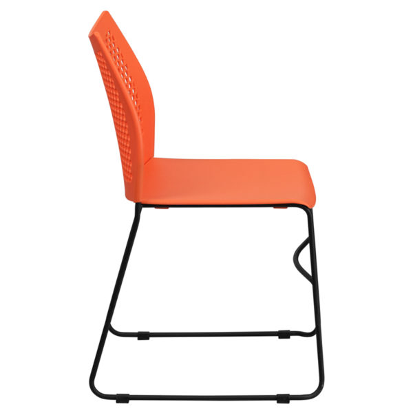 Lowest Price HERCULES Series 661 lb. Capacity Orange Sled Base Stack Chair with Air-Vent Back