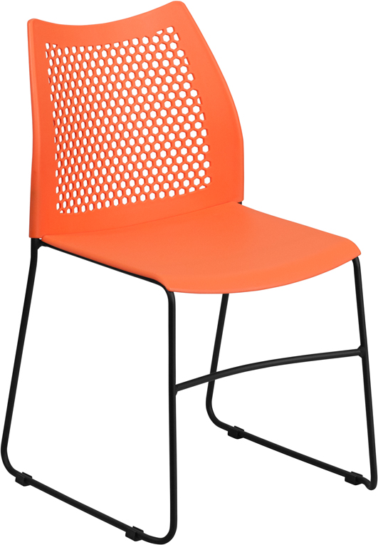 Wholesale HERCULES Series 661 lb. Capacity Orange Sled Base Stack Chair with Air-Vent Back