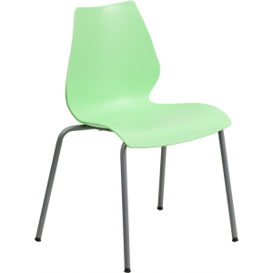 Wholesale HERCULES Series 770 lb. Capacity Green Stack Chair with Lumbar Support and Silver Frame