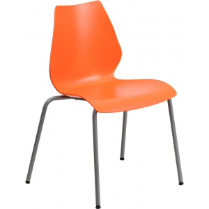 Wholesale HERCULES Series 770 lb. Capacity Orange Stack Chair with Lumbar Support and Silver Frame