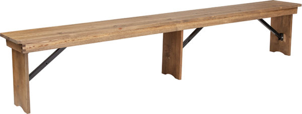 Wholesale HERCULES Series 8' x 12'' Antique Rustic Solid Pine Folding Farm Bench with 3 Legs
