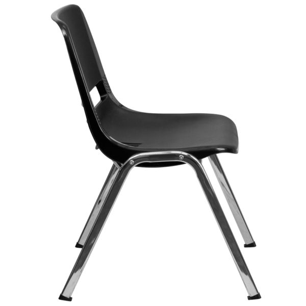 Lowest Price HERCULES Series 880 lb. Capacity Black Ergonomic Shell Stack Chair with Chrome Frame and 18'' Seat Height