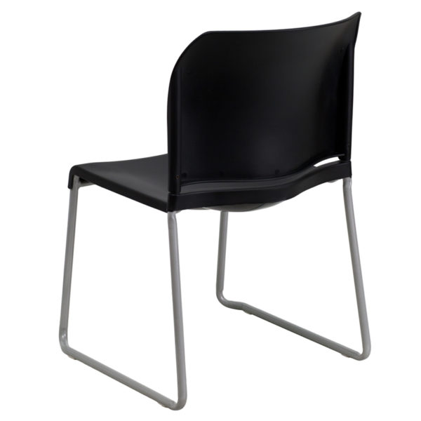 Multipurpose Stack Chair Black Plastic Sled Stack Chair