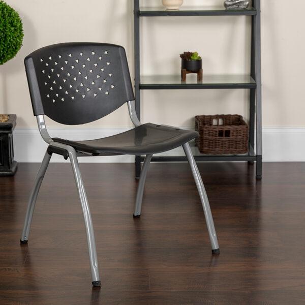 Lowest Price HERCULES Series 880 lb. Capacity Black Plastic Stack Chair with Titanium Frame
