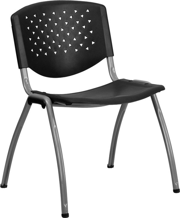 Wholesale HERCULES Series 880 lb. Capacity Black Plastic Stack Chair with Titanium Frame