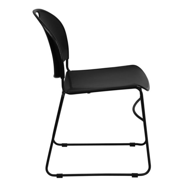 Lowest Price HERCULES Series 880 lb. Capacity Black Ultra-Compact Stack Chair with Black Frame