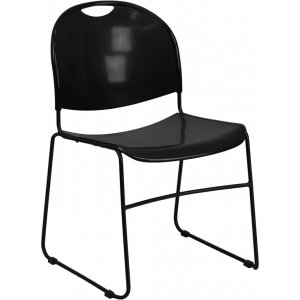 Wholesale HERCULES Series 880 lb. Capacity Black Ultra-Compact Stack Chair with Black Frame