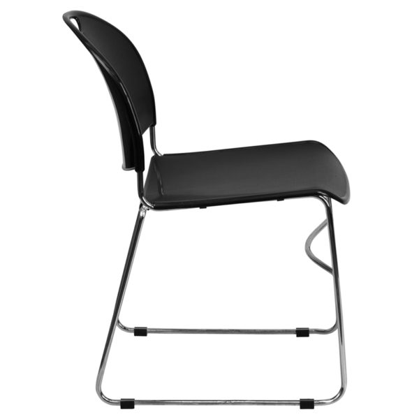 Lowest Price HERCULES Series 880 lb. Capacity Black Ultra-Compact Stack Chair with Chrome Frame