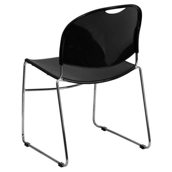 Multipurpose Stack Chair Black Stack Chair-Chrome Frame