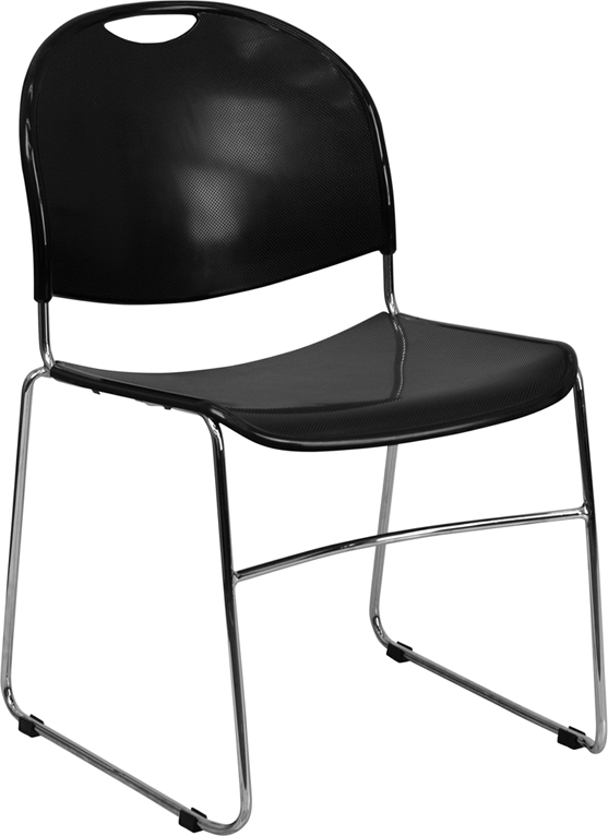 Wholesale HERCULES Series 880 lb. Capacity Black Ultra-Compact Stack Chair with Chrome Frame