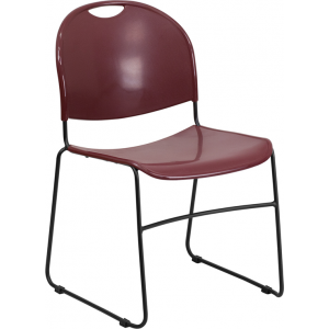 Wholesale HERCULES Series 880 lb. Capacity Burgundy Ultra-Compact Stack Chair with Black Frame