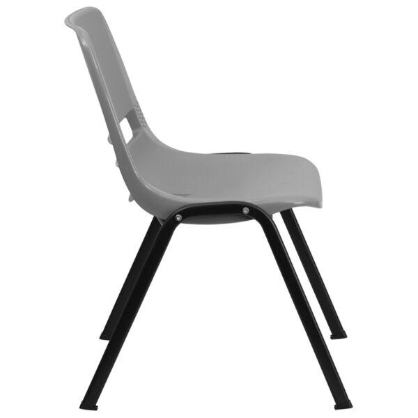 Lowest Price HERCULES Series 880 lb. Capacity Gray Ergonomic Shell Stack Chair