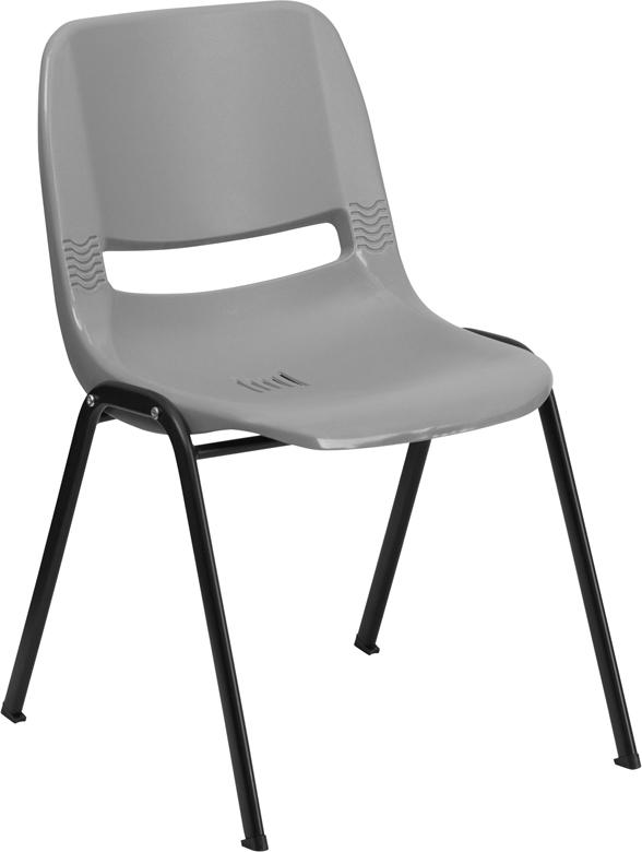 Wholesale HERCULES Series 880 lb. Capacity Gray Ergonomic Shell Stack Chair