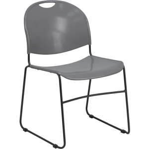 Wholesale HERCULES Series 880 lb. Capacity Gray Ultra-Compact Stack Chair with Black Frame