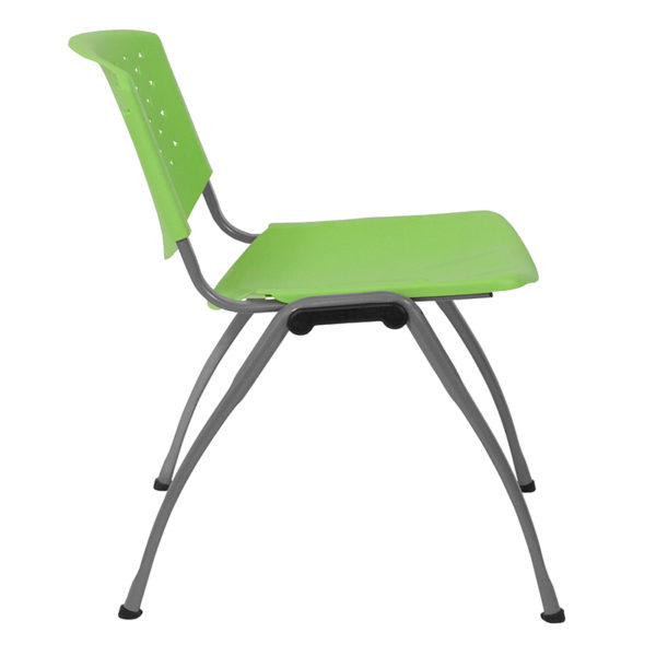 Lowest Price HERCULES Series 880 lb. Capacity Green Plastic Stack Chair with Titanium Frame