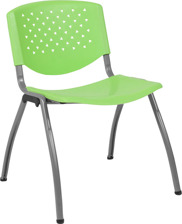 Wholesale HERCULES Series 880 lb. Capacity Green Plastic Stack Chair with Titanium Frame