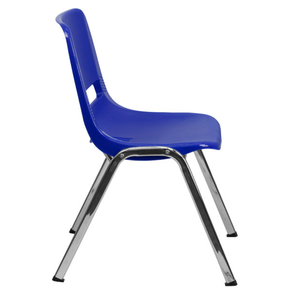 Lowest Price HERCULES Series 880 lb. Capacity Navy Ergonomic Shell Stack Chair with Chrome Frame and 18'' Seat Height