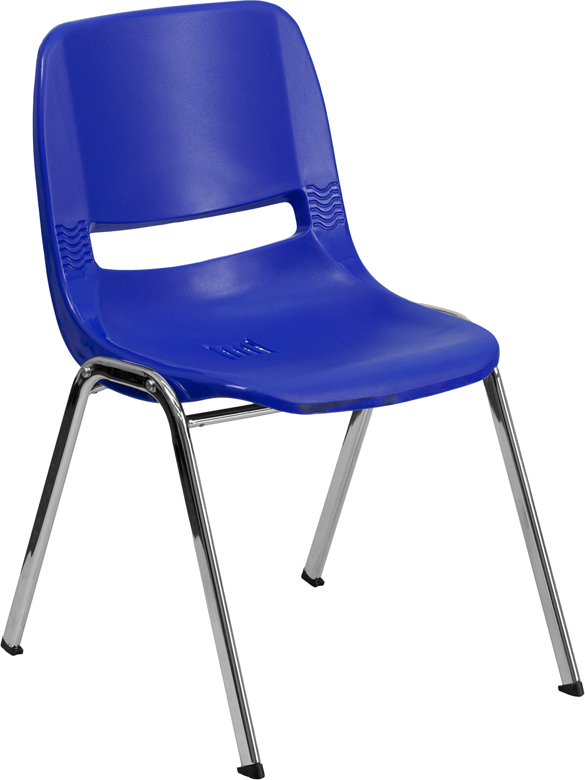 Wholesale HERCULES Series 880 lb. Capacity Navy Ergonomic Shell Stack Chair with Chrome Frame and 18'' Seat Height